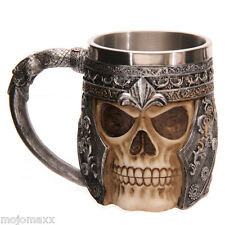GRUESOME HORROR FANTASY WARRIOR SKULL FACE SKELETON ARMOUR TANKARD GOTHIC MUG