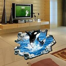 1x 3D Creative Whale Jump Wall Sticker For Drawing Room Decals Floor Stickers TL