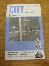 07/12/1968 Manchester City v Burnley  (token removed, folded, team changes, scor