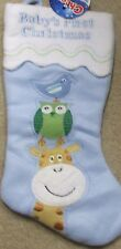 BABY'S FIRST CHRISTMAS STOCKING BLUE W/GIRAFFE,BIRD & OWL NEW