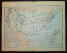 1892 ANTIQUE PRINT COLOUR MAP of ETATS-UNIS United States of America FRENCH