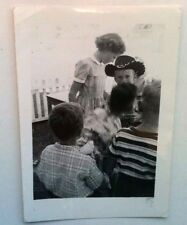 Vintage 40s Photo Picture Cute Group Of Kids With Boy Wearing Cowboy Hat