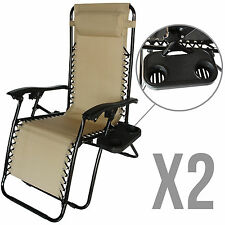 2 Zero Gravity Folding Lounge Beach Chairs+Utility Tray Outdoor Recliner in Tan