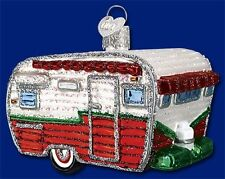TRAVEL TRAILER OLD WORLD CHRISTMAS GLASS RV CAMPER CAMPING CAMP ORNAMENT 46041