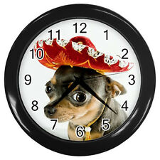 New Clock CHIHUAHUA with Mexican Hat - DOG PUPPY PUPPIES Wall Clock rare!