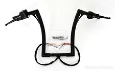 "12"" RISE BLACK FAT APE HANGERS HANDLEBARS WITH HAND CONTROLS SWITCHES FIT HARLEY"