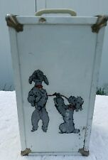 """Vintage Doll Metal Trunk Chest Clothes Poodle Case  Wardrobe 13"""" by Cass!!"""