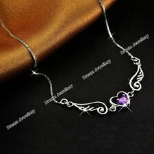 Silver Angel Wings Love Purple Heart Necklace Pendant Xmas Gifts for Her Girl Z1