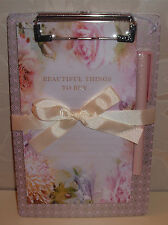 """BEAUTIFUL THINGS TO BUY"" PAD&PEN/CLIPBOARD PINK/SILVER Board LILAC/PINK FLOWERS"