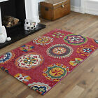 SMALL LARGE MEDIUM MODERN RED ORANGE WHITE YELLOW GREEN FLORAL MULTI-COLOUR RUGS