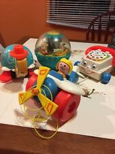 Lot of Vintage Fisher Price toys- Roly Poly Chime ball, Plane & Turtle
