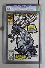 RARE WEB OF SPIDER-MAN 100 CGC 8.5 WHITE COVER MANUFACTURERS ERROR HTF 1st app