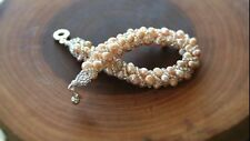 Amazing,Fashion Peach bracelet beaded with fresh water pearls and seed bead