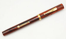 VINTAGE WATERMAN 52 RED RIPPLE WOODGRAIN FOUNTAIN PEN 14K IDEAL NIB CLIP CAP