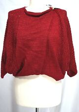 Nine West Jeans - S - NWT - Red Sparkle Metallic Button Wrap - Batwing Sweater