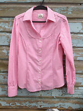 Crew Clothing Co. Womans 100% Cotton Pink Stripey Shirt (UK Size 10)