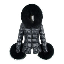 New Winter Women's Down Cotton Parka Fur Collar Hooded Coat Quilted Jacket L