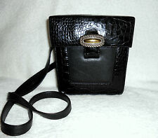 VINTAGE BRIGHTON SMALL BLACK MOC CROC SHOULDER BAG, SO LIGHTWEIGHT, GORGEOUS!***