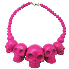 Kreepsville 666 Skull Collection Necklace Pendant Womens Jewelry Pink JNSCPK