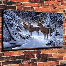 Large Canvas Prints The Edge of Light Snow Deer Home Wall Decor (Unframed)