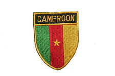 CAMEROON COUNTRY FLAG OVAL SHIELD FLAG EMBROIDERED IRON-ON PATCH CREST BADGE