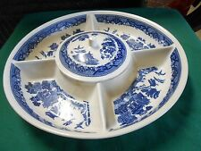 Outstanding Blue & White Ironstone China 4 Section and Dish SERVING PLATTER