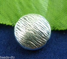 30Pcs Silver Tone Flat Round Spacer Beads 10mm Dia.