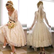 Tea length V Neck 3/4 Sleeve Lace Wedding Dresses Bridal Gown Custom Size SJ156