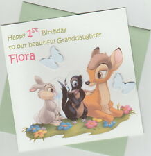 Personalised Handmade Bambi 1st, 2nd, 3rd, 4th Birthday Card - Daughter, Niece