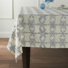 Crate & and Barrel SNOWFALL SILVER TABLECLOTH - 60 x 90-NWOT- SOLD OUT @ C&B