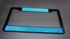 POLICE TRAFFIC BLUE NIGHT-SHINE BRITE REFLECTIVE safety LICENSE PLATE FRAME thin