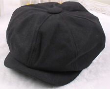 XJ Unisex Mens Womens Wool Baker Boy Newsboy Cabbie Gatsby Flat Cap Hats BLACK