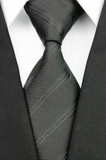 JA0079 Black White Striped Classic Jacquard Woven Silk Men's Necktie Tie