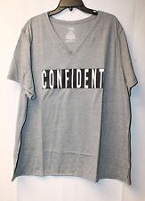 COOL NEW WOMENS PLUS SIZE 4X 26W 28W GRAY & SAYS CONFIDENT V NECK TEE SHIRT TOP