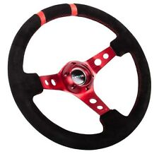 """NRG 350MM 3""""DEEP DISH SUEDE STEERING WHEEL RED SPOKES DOUBLE MARK ST-016S-RD"""