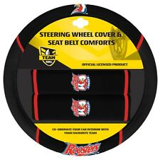 84047 SYDNEY ROOSTERS NRL CAR STEERING WHEEL COVER & SEAT BELT COMFORTS PADS