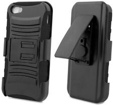 BLACK RUBBER SKIN HARD CASE STAND HOLSTER CLIP SCREEN SAVER FOR iPHONE 5 5s