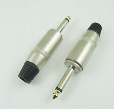 "Audio Microphone Cable 6.35mm 1/4"" Mono Jack Male Metal Plug Connector Adapter"