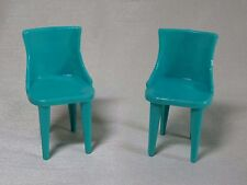 Set of 2 Green Vintage Plasco Dollhouse Kitchen Chairs