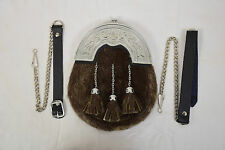 GENUINE SEAL FUR & LEATHER SCOTTISH SPORRAN & CHAIN BELT KILT ACCESSORIES