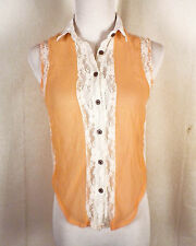 euc Selena Gomez Dream Out Loud peach / white lace top Sheer SZ S
