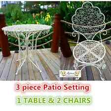 OUTDOOR TABLE & CHAIR PATIO SETTING MARBLE Metal Garden Balcony Cafe White