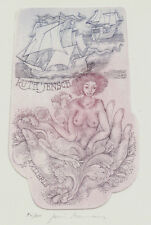 Akt Schiff Exlibris Juris Mommen / Jensch Windjammer Erotic Nude Etching c3 sign