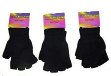 3 Pairs of Mens Ladies Black Magic Gloves Winter stretch Fingerless Gloves