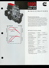 Cummins N14 PLUS 460E+ ST2 855 CI Diesel Truck Tractor Engine Dealer Sheet Page