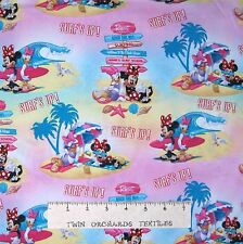 Nautical Fabric - Minnie Mouse Surf's Up Beach Scene Pastel - Springs YARD
