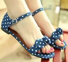 Womens Summer Open Toe Polka Dots Ankle Strap Flat Sandals Shoes Plus Size