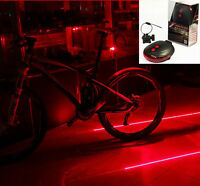5 LED 2 Laser Bicycle Cycle Bike Red Beam Rear Lights Back Tail Lamp & Battery