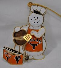Texas Tailgater Longhorns UT Snowman ChemArt Collectible Gold Christmas Ornament