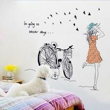 Beauty Bicycle Girl Removable Vinyl Wall Sticker Decal Art DIY Home Decor uf